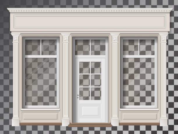 shop front with column transparent window - butik stock illustrations