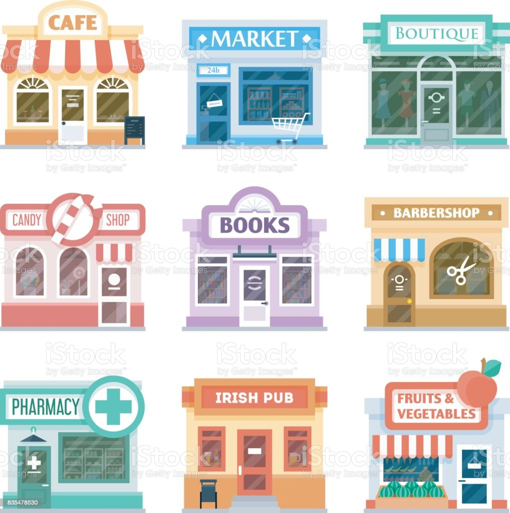Shop Fronts Collection Exterior Design Stock Illustration Download Image Now Istock