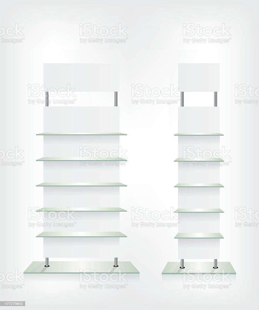 Shop glass shelves white vector art illustration