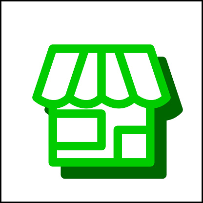 Shop icon in simple flat design 06