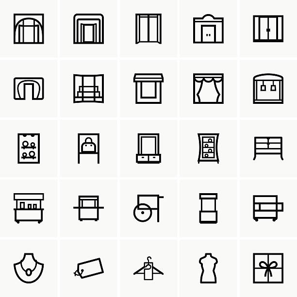 Shop icons This image is a vector illustration and can be scaled to any size without loss of resolution, can be variated and used for different compositions. This image is an .eps file and you will need a vector editor to use this file, such as Adobe Illustrator. showroom stock illustrations
