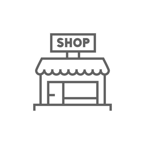 illustrations, cliparts, dessins animés et icônes de icône de la boutique en ligne - vitrine magasin