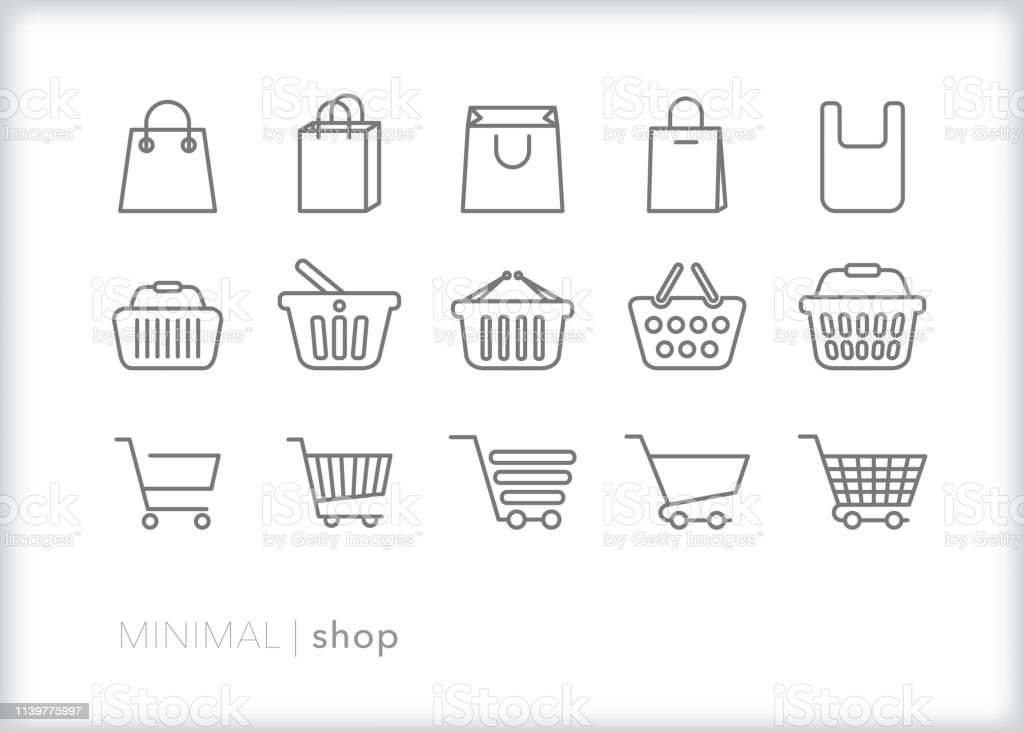 Shop line icons of bags, baskets and carts for shopping and retail - Grafika wektorowa royalty-free (Biznes)