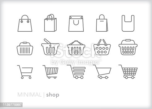 Set of 15 shopping line icons of bags, baskets and carts used at stores and retail shops for purchasing groceries, goods and items