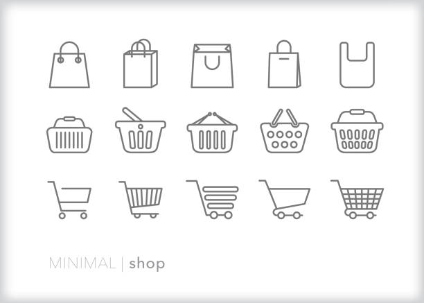 Shop line icons of bags, baskets and carts for shopping and retail Set of 15 shopping line icons of bags, baskets and carts used at stores and retail shops for purchasing groceries, goods and items for sale stock illustrations