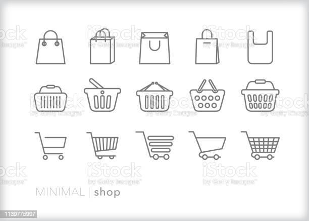 Shop Line Icons Of Bags Baskets And Carts For Shopping And Retail - Arte vetorial de stock e mais imagens de Carrinho - Meio de Transporte