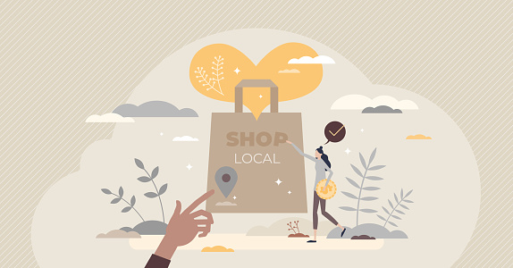 Shop local and support small business with your purchase tiny person concept