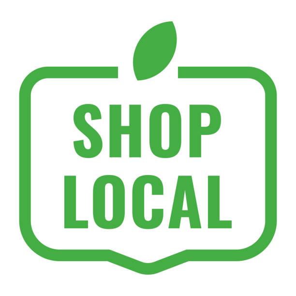 shop lokale abzeichen, symbol. flache vektor-illustration auf weißem hintergrund. - kaufladen stock-grafiken, -clipart, -cartoons und -symbole