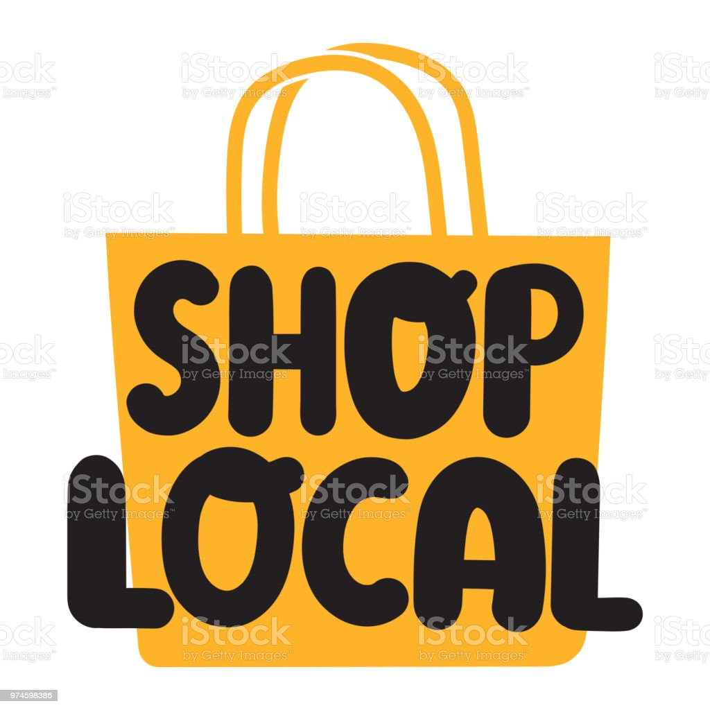 Shop local. Flat vector illustration on white background. vector art illustration