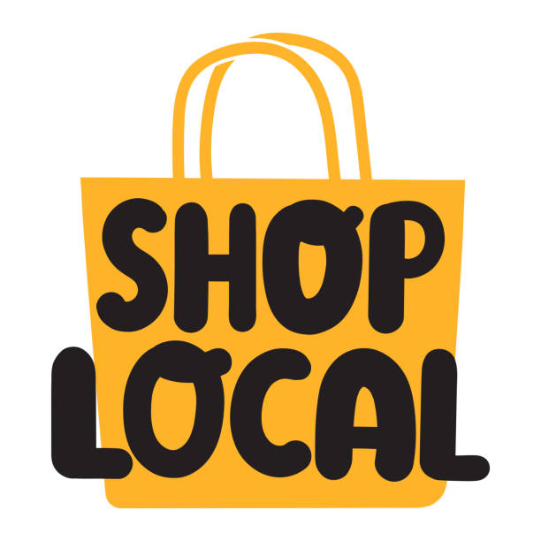 shop local. flat vector illustration on white background. - domowy stock illustrations