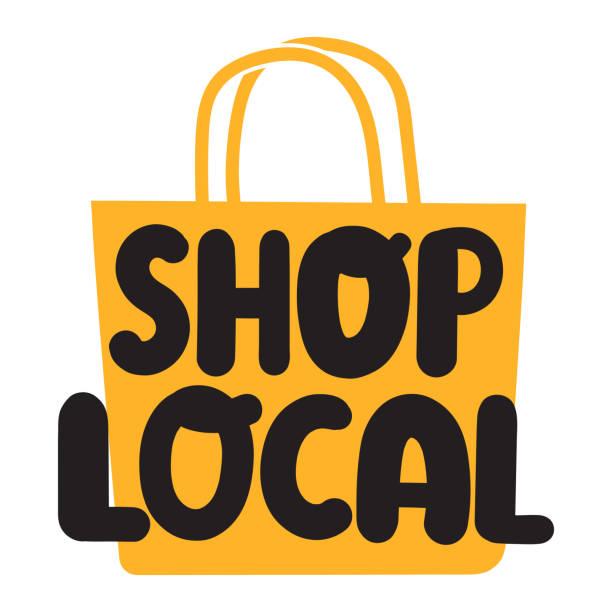 ilustrações de stock, clip art, desenhos animados e ícones de shop local. flat vector illustration on white background. - store