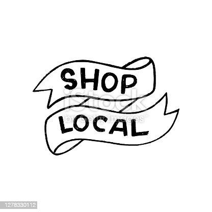istock Shop Local inscription in ribbon banner 1278330112