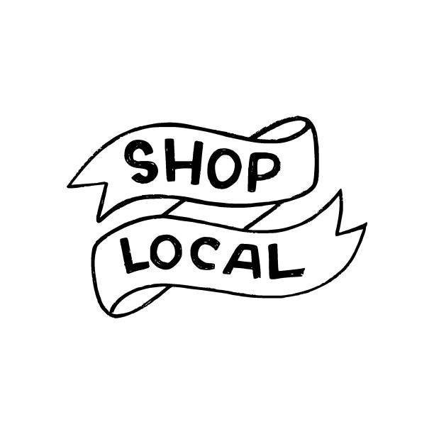 Shop Local inscription in ribbon banner Hand lettering expression Shop Local drawn with capital unique letters. Eco friendly slogan calling to buy goods and products from locally based retailers and manufacturers. Text supporting areal maker ethical consumerism stock illustrations
