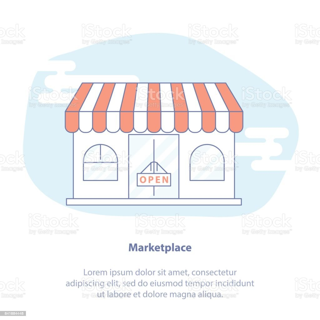 Shop, Marketplace, Store and Retail vector concept. Flat line design concept of shopping, purchases. vector art illustration
