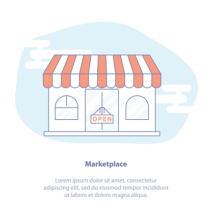 Shop Marketplace Store And Retail Vector Concept Flat Line