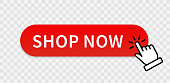 Shop now red button with hand cursor. Buy now hand pointer clicking. Click here banner with shadow. Click button isolated. Online shopping. Vector illustration.