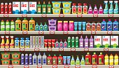 Shop of household chemicals and cleaners. Vector illustration