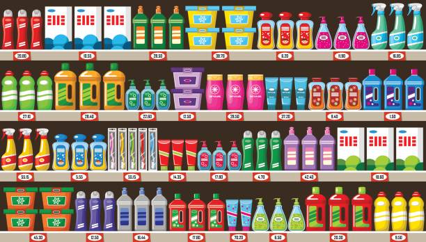 shop of household chemicals and cleaners - disinfectant stock illustrations