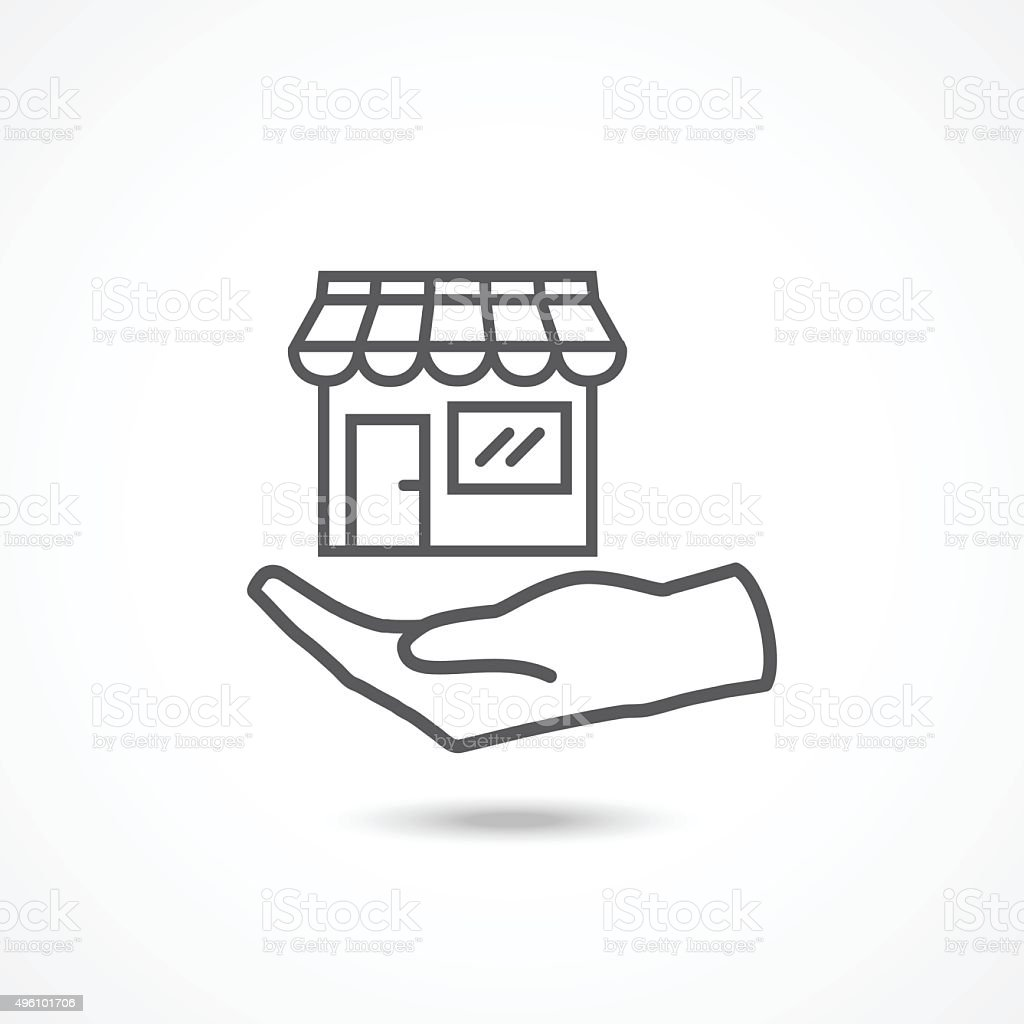 Shop on hand icon vector art illustration