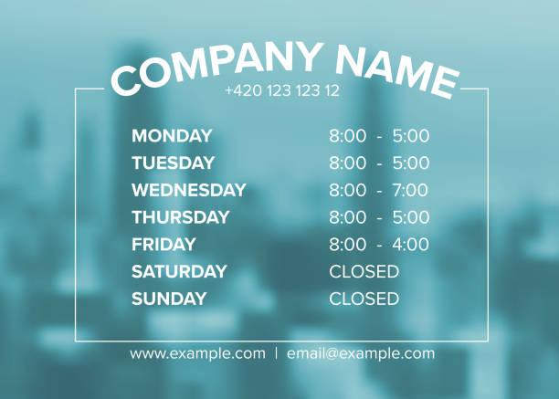 illustrazioni stock, clip art, cartoni animati e icone di tendenza di shop opening time hours vector template - cartello chiuso