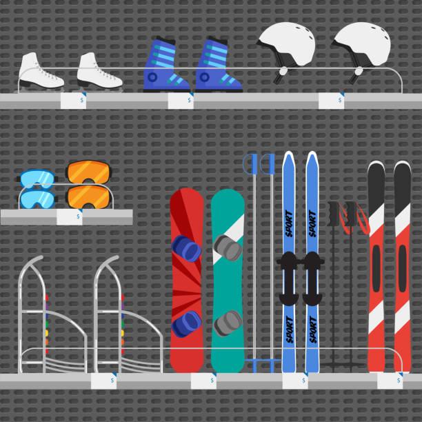 illustrazioni stock, clip art, cartoni animati e icone di tendenza di shop or store counter with winter sport equipments - negozio sci