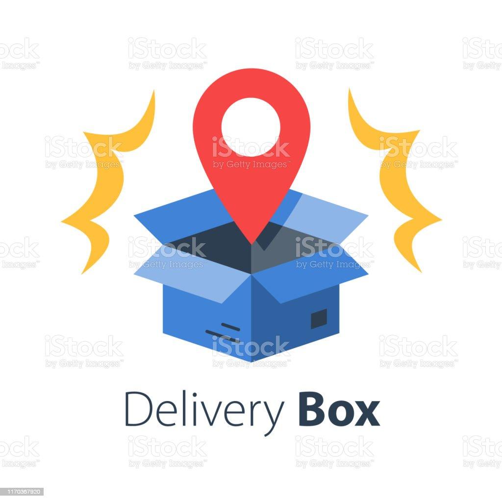 Livraison De Commande En Magasin Boîte Ouverte Et Épingle De Localisation Recevoir Le Colis Postal Point De Ramassage Vecteurs libres de droits et