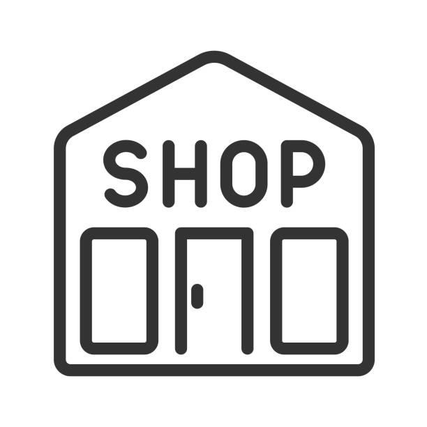 web tasarımı, mobil uygulama ui ve baskı için anahat vektör simgesini öğrenin. beyaz arka planda yalıtılmış mağaza hattı vektör çizimi. - sale stock illustrations