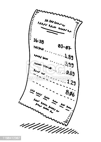 Hand-drawn vector drawing of a Shop Payment Paper Receipt. Black-and-White sketch on a transparent background (.eps-file). Included files are EPS (v10) and Hi-Res JPG.