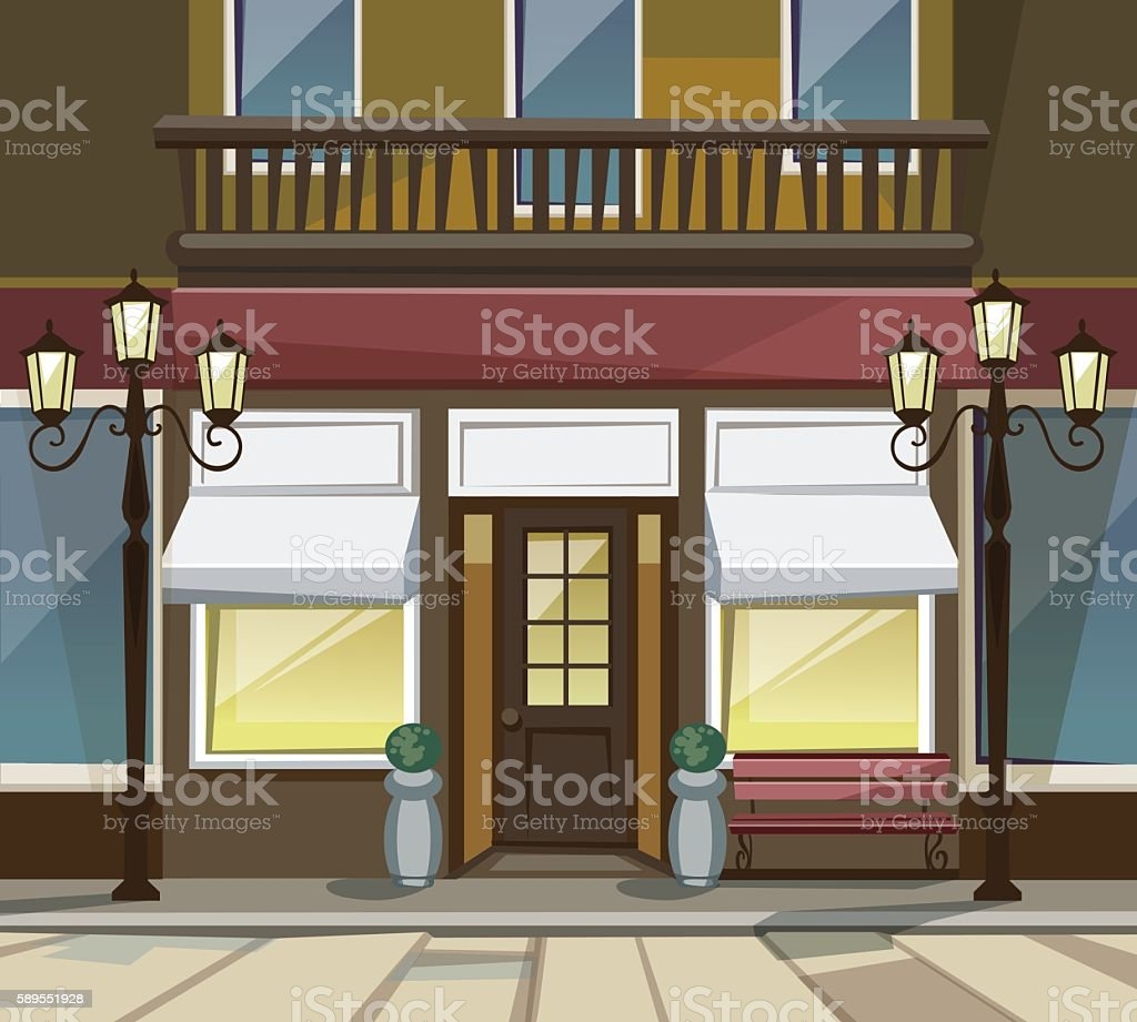 Shop Restaurant Cafe Store Front With Windows Street Lanterns Stock Illustration Download Image Now Istock