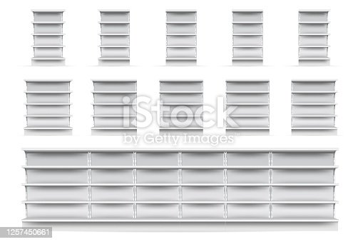 Shop shelves set. Isolated empty supermarket store showcase shelve icon collection. Realistic blank white retail shop display shelves front view. Vector market and business concept