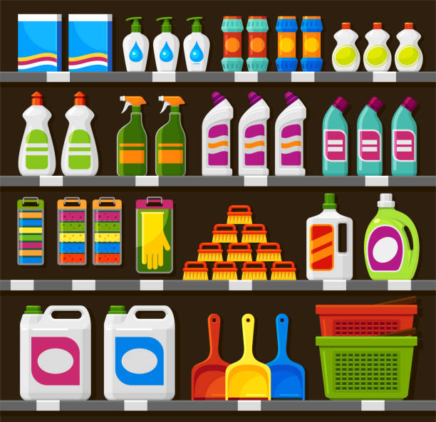 Shop shelving with household cleaning products vector illustration vector art illustration
