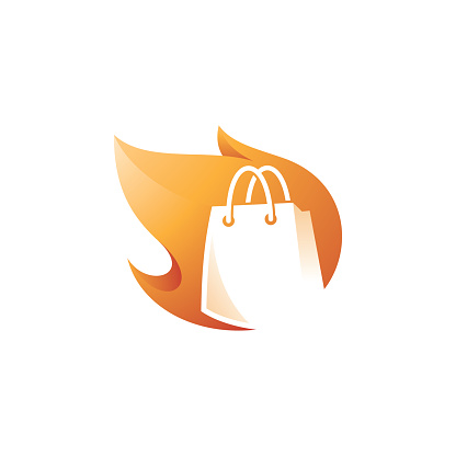 Shop Shopping Bag and Hot Fire Flame Logo Icon