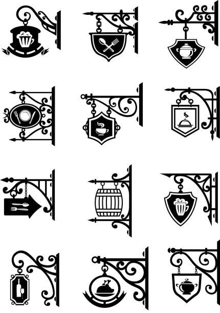 bildbanksillustrationer, clip art samt tecknat material och ikoner med butik signages hängande metall retro vektor ikoner - pub