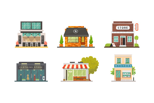 Shop store buildings vector illustrations set. Market exterior, restaurant and cafe. Vegetable store, pharmacy, boutique, urban front houses. clipart