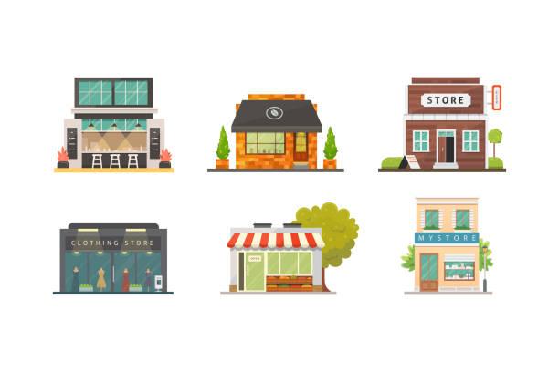 illustrazioni stock, clip art, cartoni animati e icone di tendenza di acquista gli edifici del negozio illustrazioni vettoriali impostate. esterno del mercato, ristorante e caffetteria. negozio di verdure, farmacia, boutique, case di fronte urbane. - costruire