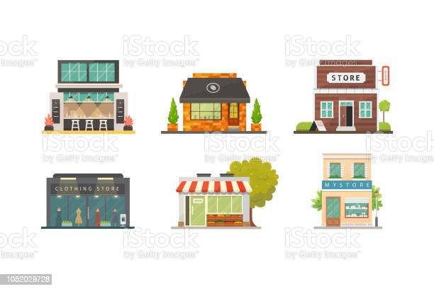 Shop Store Buildings Vector Illustrations Set Market Exterior Restaurant And Cafe Vegetable Store Pharmacy Boutique Urban Front Houses - Arte vetorial de stock e mais imagens de Arquitetura