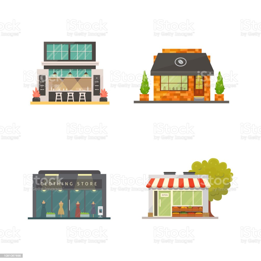 Shop Store Buildings Vector Illustrations Set Market Exterior Restaurant And Cafe Urban Front Houses Stock Illustration Download Image Now Istock