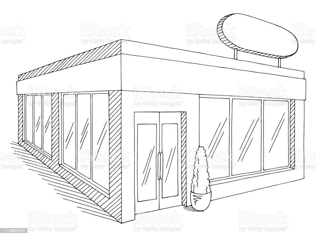 Vetores De Loja Loja Exterior Grafico Preto Branco Isolado Desenho
