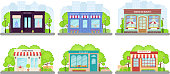 Shop, store front. Vector. Storefront boutique, cafe, restaurant, pharmacy, bakery store, book shop. Set facade building isolated, flat design. Small business. Cartoon illustration Street architecture
