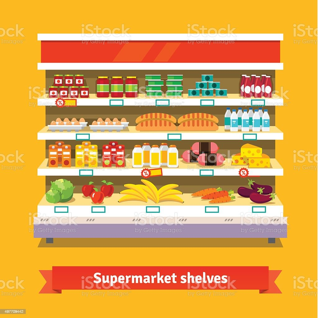 Shop, supermarket interior. Healthy food vector art illustration