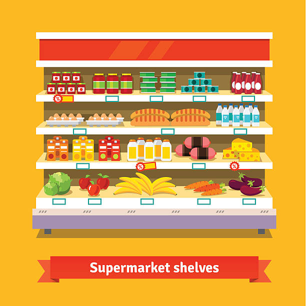 Shop, supermarket interior. Healthy food Shop, supermarket interior shelf with fruits, vegetables, milk, eggs drinks, preserves. Healthy food. Flat isolated vector illustration on white background. grocery aisle stock illustrations