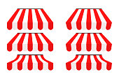 istock Shop tent vector market red and white stripes roof collection, isolated marketing illustration 1253255134