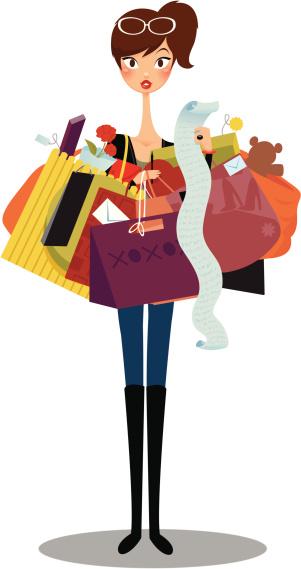 Shop Till You Drop Stock Illustration - Download Image Now ...