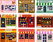 Shop window vector showwindow of book store or candyshop and window-case of pizzeria illustration set of butchershop bakery and ice cream frontstore showcase isolated on white background.