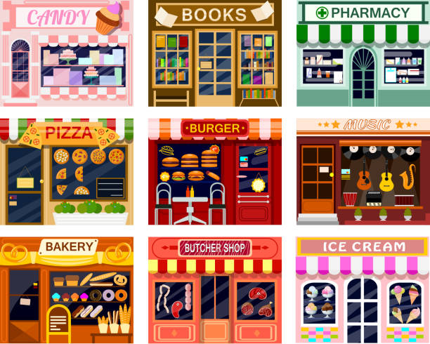 shop window vector showwindow of book store or candyshop and window-case of pizzeria illustration set of butcher shop or bakery and burger or ice cream frontstore showcase isolated on white background - wystawa sklepowa stock illustrations
