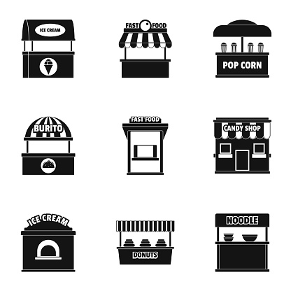 Shop with food icons set, simple style