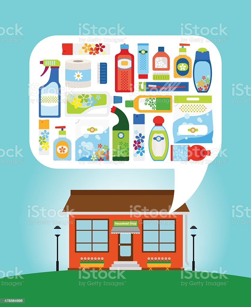 Shop with household chemicals vector art illustration