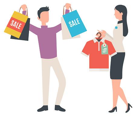 Shopaholic Man Showing Bags, Shopping Character