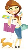 Vector illustration of a fashionable young girl enjoying her favorite activity. This delightful character will sure add color and fun to any shopping / retail related projects.