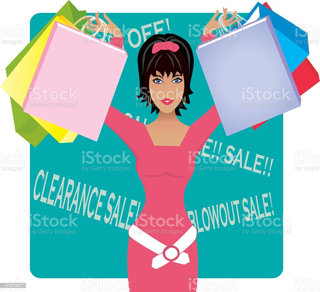 Shopaholic royalty-free stock vector art
